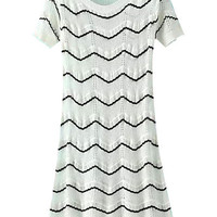 White Raise Grained Pattern Knitted Cut Out Dress