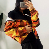 Casual Fashion Long Sleeve Hooded Zipper Camouflage Top Coat