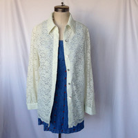 Beautiful Vintage Lace Jacket by Appleseed's / Size 12 / Abalone Shell Buttons
