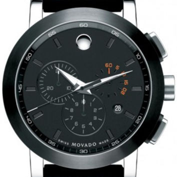 Movado Museum Sport Classic Men's Chronograph Black PVD 44mm Rubber Band Watch 0606545