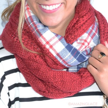Love On Rewind Red Plaid Double Sided Knit Infinity Scarf