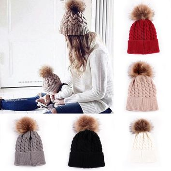 Fashion Women Mother Baby Toddler Girls Boys Warm Winter Knit Beanie Fur Pom Hat Crochet Ski Ball Cap