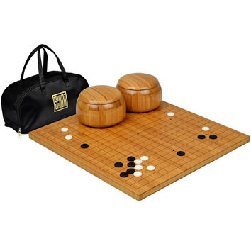 "Etched Bamboo Go Board (0.8"" Thick) w/ Single Convex Yunzi Stones and Bamboo Bowls Set '"
