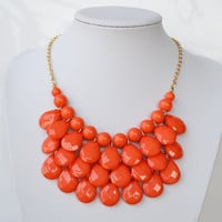 Orange  - New Fashion Water Drops Bib Necklace and Earrings Set ,Bubble Bib Statement holiday party wedding Necklace,bridesmaid gift