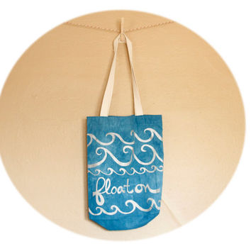"""Cerulean Blue Tote Bag- cotton and linen tote with hand printed waves, """"float on,"""" in silver ink"""