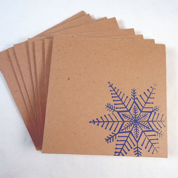 Snowflake Mini Note Cards with envelopes set of 8, Winter cards, Christmas in July, Blank note cards, gift tags, hand stamped, blue tan