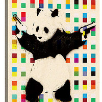 The Panda With Guns Bright Dots Canvas Print 18 x 12 x 0.75 in Multi