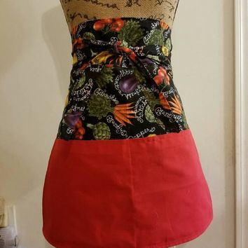 Chalkboard - veggie - carrots - peppers - tomatoes - pinup - rockabilly - 50's - retro - vintage - style - half - apron - with - pockets