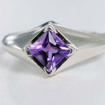 Amethyst Square Ring 925 Sterling Silver