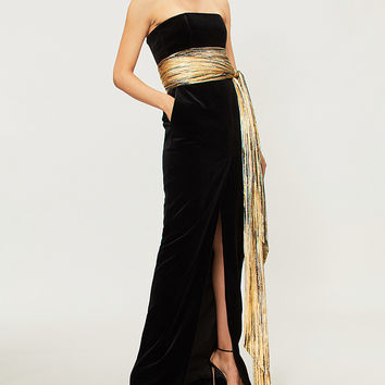 ALEXANDRE VAUTHIER Strapless velvet and metallic foil gown