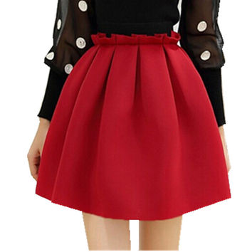 2017 mini skirts 8 color free shipping high waist sexy cute space cotton zipper pleated pendulum fashion retro women skirt