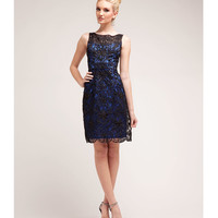 Royal Satin & Lace Bateau Cocktail Dress Prom 2015