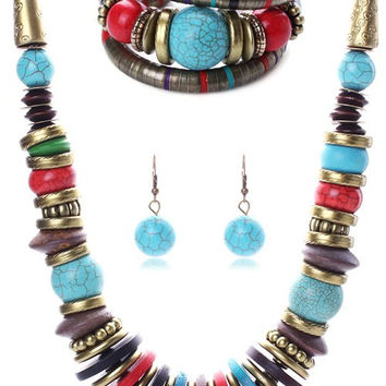 Retro Ethnic Style Turquoise Necklace Bracelet and Earrings