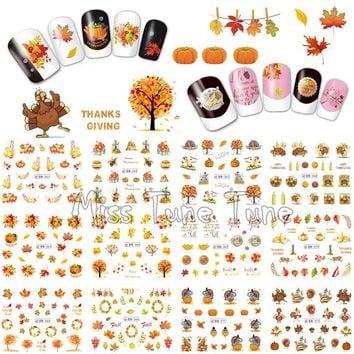 Thanksgiving Nail Art Water Transfer Nail Stickers Decal Tips Harvest Holiday Autumn Maple Leaves Pumpkins Turkey