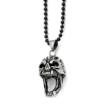 Men's Stainless Steel Polished and Antiqued Skull Necklace