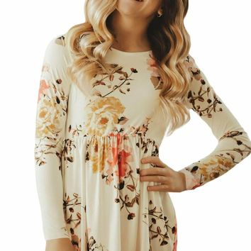 Floral White Swing Dress with Hidden Pockets