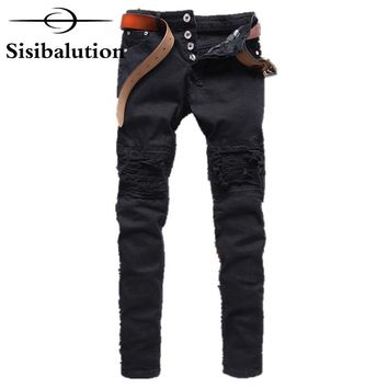 New Mens Jeans skinny pants Cotton Black Gray Slim Motorcycle Jeans Men Vintage Distressed Denim Jeans hiphop streetwear pants