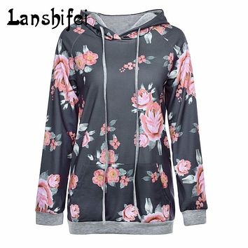 Hoodies Floral Print Sweatshirt 2017 Autumn Winter Women Fashion Warm Hoodie Casual Flower Hoodies Pullover Tracksuits S-2XL