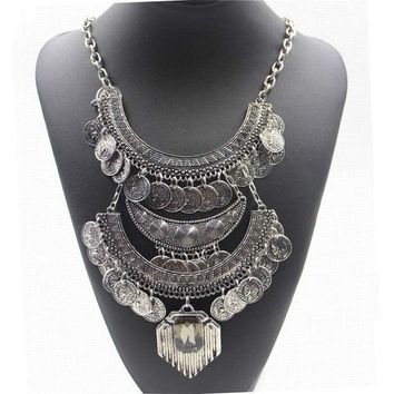 Boho Bohemia Ethnic Necklace Vintage Gold/silver Carved Coins Pendant Jewelry Statement Colares Femininos Women