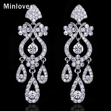 Minlover Crystal Chandelier Long Earrings Silver Color Rhinestone Bridal Drop Earrings for Women Wedding Jewelry EH001