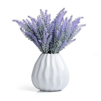 PartyFuFu Artificial Fake Lavender Bouquet Flowers Arrangements Bridal Home DIY Floor Garden Office Wedding Decor Purple (8)