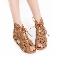 YESSTYLE: Grace Candy- Perforated Lace-Up Sandals - Free International Shipping on orders over $150