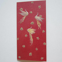"""Handmade unique Christmas greeting card """"Snowy spell"""" - Pressed flowers card - Unique gift - Art card - Happy New Year card - Art collage."""
