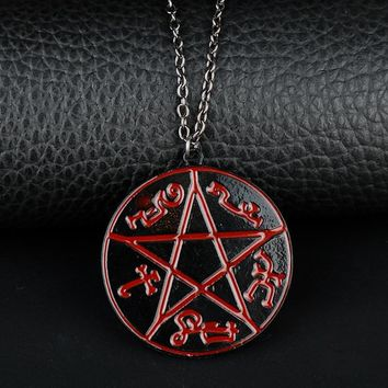 Supernatural Pentagram Pentacle Devil's Trap Logo Rune Pendants&Necklace Colar for Man Hip Hop Jewelry