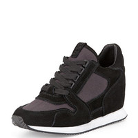 Dean Ter Suede Wedge Sneaker, Black