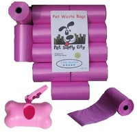 220 Pet Waste Bags, Dog Waste Bags, Bulk Poop Bags on a roll, Clean up poop bag refills - (Color: Pink) + FREE Bone Dispenser, by Downtown Pet Supply