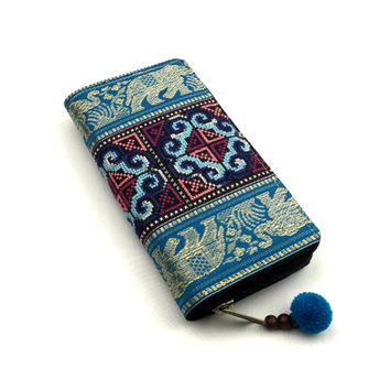 Blue Tribal Wallet, Ethnic Embroidery Zippered Wallet, Womens Long Wallet Clutch, Thai Silk Elephant Print wallet, Fit an iPhone 6 wallet