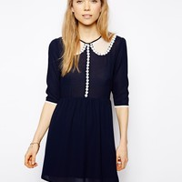 Little White Lies Skater Dress With Mesh Collar