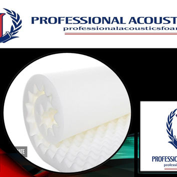 "Professional Acoustics Foam 1.5"" Acoustic Foam White Egg Crate - 1-1/2"" 72"" X 80"" Covers 40sq Ft"