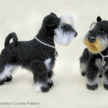 101 Miniature Schnauzer dog with wire frame - Amigurumi Crochet Pattern PDF file by Chirkova Etsy