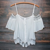 ivory boho off the shoulder shirt
