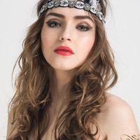 Color Block Bead Crystal And Faux Feather Embellished Headband