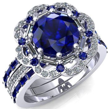 Camelia Round Lab-Created Blue Sapphire Accent Diamond and Blue Sapphire Halo Ring