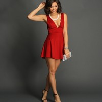Sale-red Scalloped Skater Dress