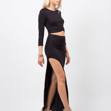 Dramatic Slit Midi Skirt