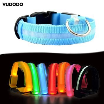 4 Sizes Nylon LED Pet Dog Collar Colorful Night Safety Flashing Glow Dark Dog Leash Electric Pet Supplies Collar For Dogs Cats