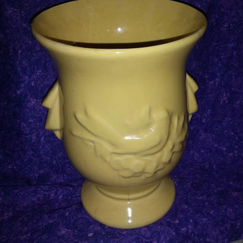1950's McCoy Mustard Yellow Vase With Design of Bird Sitting on Tree and Side Handles