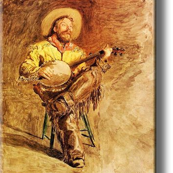 Cowboy Singing Picture on Stretched Canvas, Wall Art Décor, Ready to Hang!