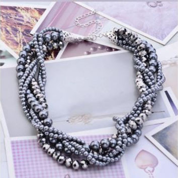 Multi Twisted Strand Black Faux Pearls - Short Necklace