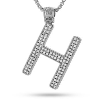 """White Gold Letter """"H"""" Necklace"""