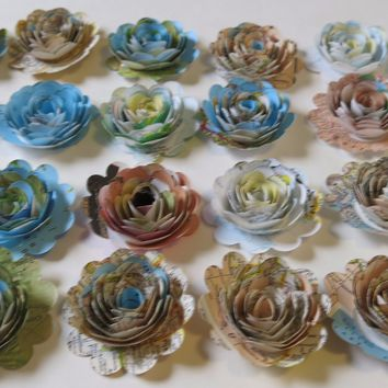 "Scalloped Set 24 Pieces, World Atlas Paper Flowers, Loose 1.5"" Roses, Map Book Page Floral Decor, Traveler Theme Bridal Shower Decoration, Wedding Reception Centerpiece, Travel Party Decor"