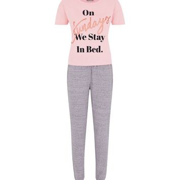 Mid Pink On Sundays Pyjama Set | New Look