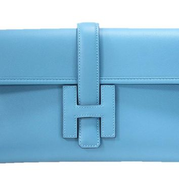 Hermes Jige Elan Swift Clutch Turquoise Blue Hand Bag France