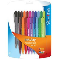 Paper Mate® InkJoy 100 RT Retractable Ballpoint Pen, Medium Point, Assorted Ink Colors, 20\/pk (1879331) | Staples®