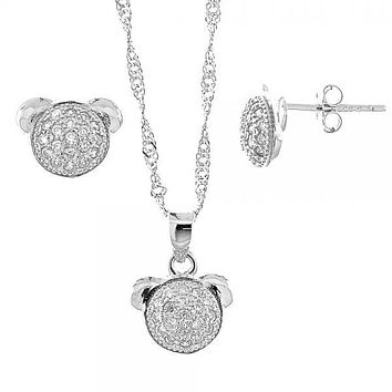 Sterling Silver 10.174.0065 Necklace and Earring, Teddy Bear Design, with White Micro Pave, Rhodium Tone