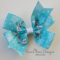 Pinwheel Hairbow, Olaf Hairbow, Frozen Hairbow, Toddler Hair Bows, Hair Clips, Petite Bows, 3 Inch, Toddler Hairbow, Snowman Hairbow